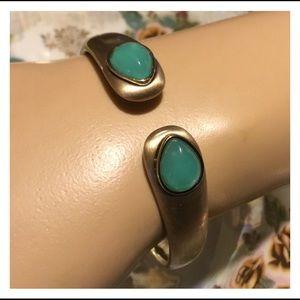 Unique Antique Gold Sea Foam Green Bracelet